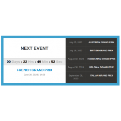 Tracks upcoming events module